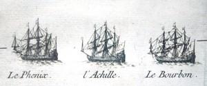Le Phénix, l'Achille et le Bourbon, vaisseaux de l'escadre française devant Madras le 21 septembre 1746, détail d'un plan gravé de Madras, XVIIIè siècle. Lorient, musée de al Compagnie des Indes.