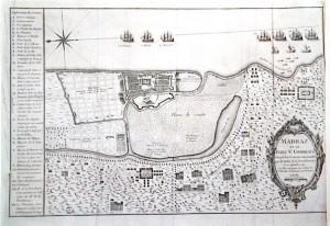 Madras et le fort Saint-George, pris par les Français commandés par Mr Mahé de la Bourdonnais, gravure, XVIIIè siècle. Lorient, Musée de la Compagnie des Indes.